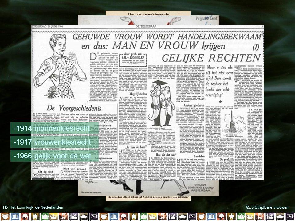 -1914 mannenkiesrecht -1917 vrouwenkiesrecht -1966 gelijk voor de wet