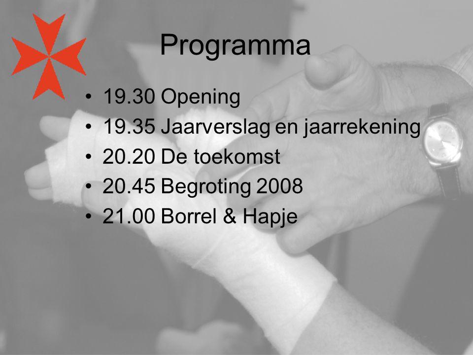 Programma 19.30 Opening 19.35 Jaarverslag en jaarrekening