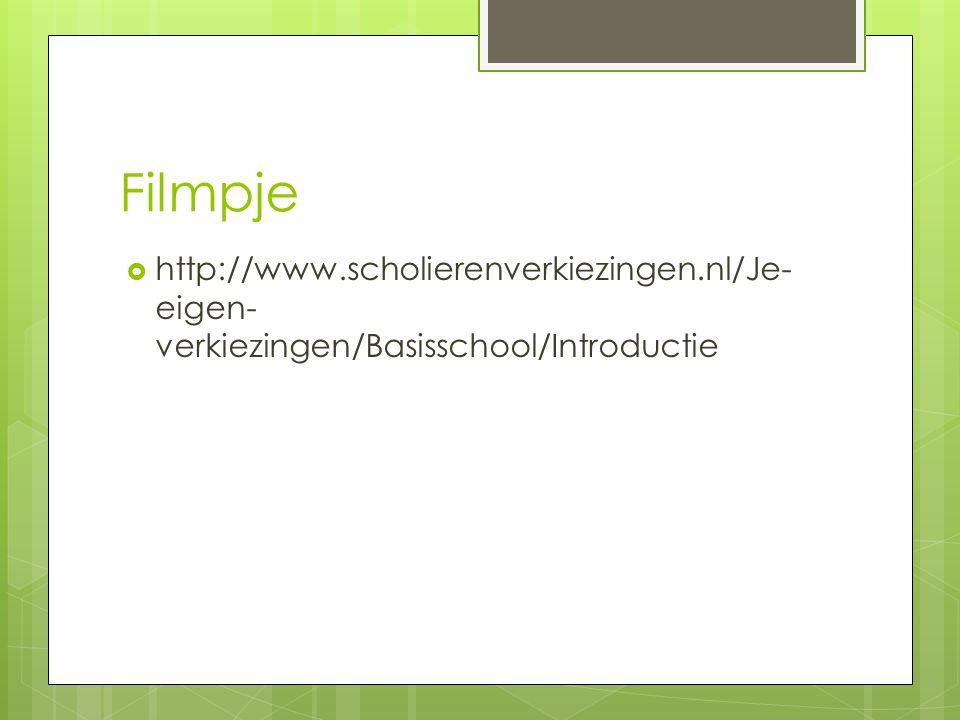 Filmpje http://www.scholierenverkiezingen.nl/Je-eigen-verkiezingen/Basisschool/Introductie