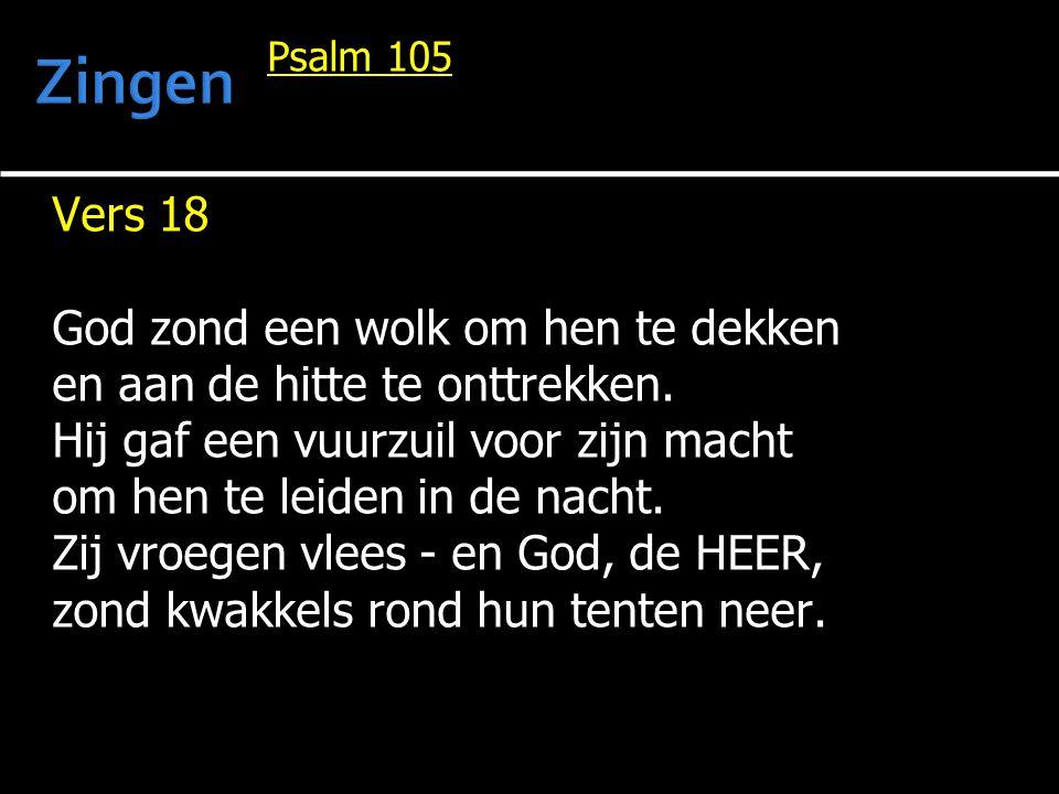Zingen Vers 18 God zond een wolk om hen te dekken
