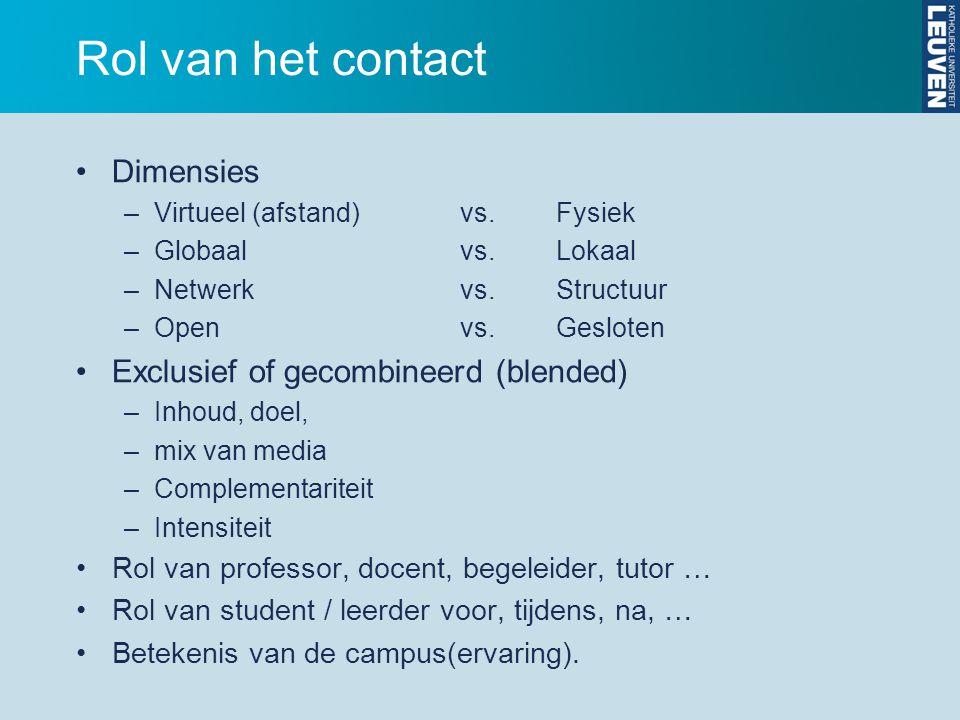 Rol van het contact Dimensies Exclusief of gecombineerd (blended)