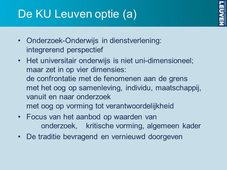 De KU Leuven optie (a) Onderzoek-Onderwijs in dienstverlening: integrerend perspectief.