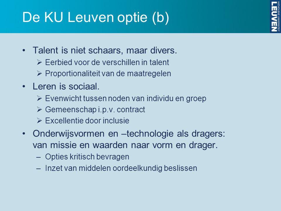 De KU Leuven optie (b) Talent is niet schaars, maar divers.