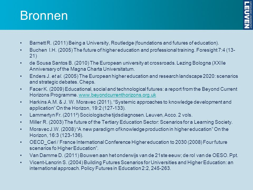 Bronnen Barnett R. (2011) Being a University, Routledge (foundations and futures of education).