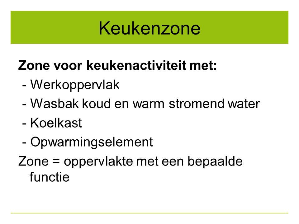 Keukenzone Zone voor keukenactiviteit met: - Werkoppervlak