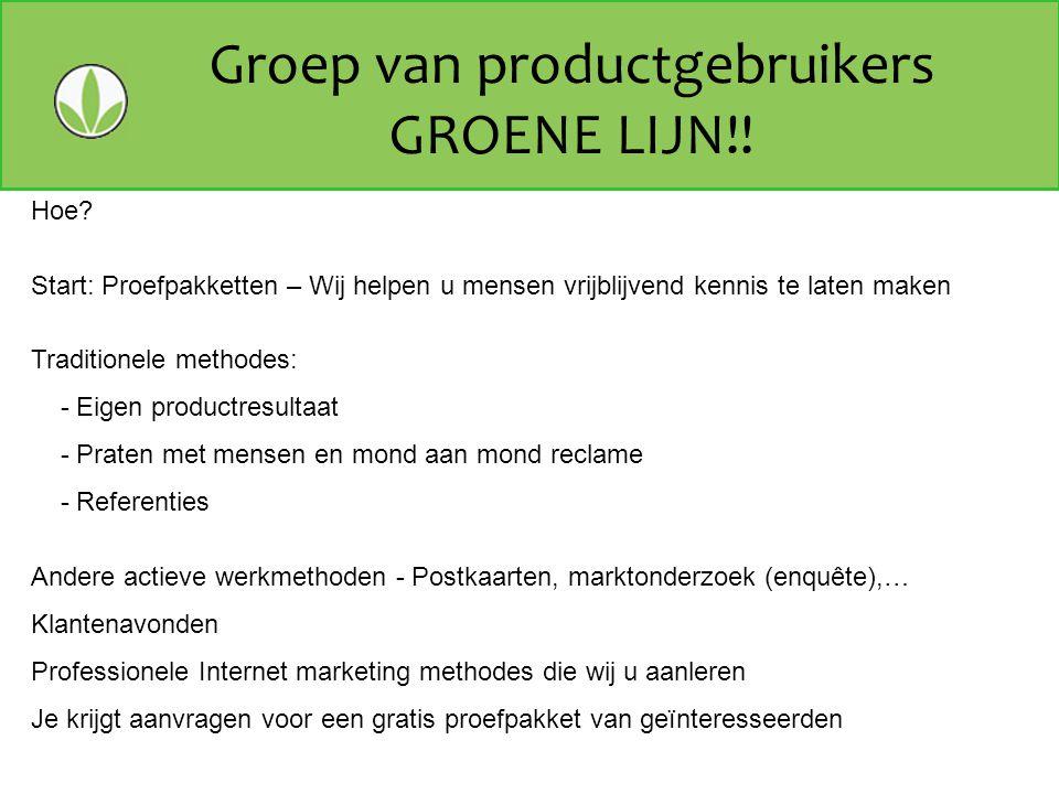 Groep van productgebruikers GROENE LIJN!!