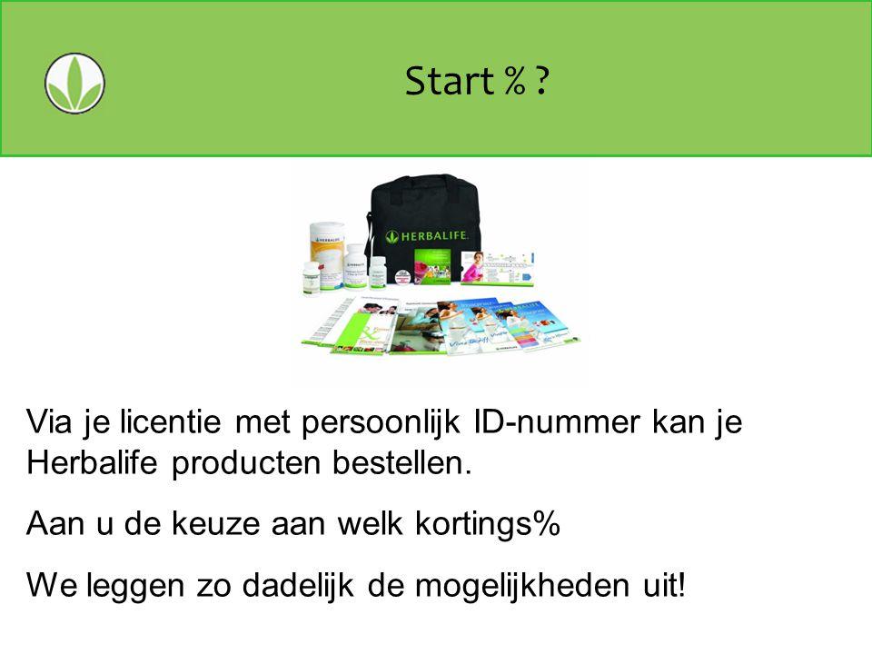 Start % Via je licentie met persoonlijk ID-nummer kan je Herbalife producten bestellen. Aan u de keuze aan welk kortings%