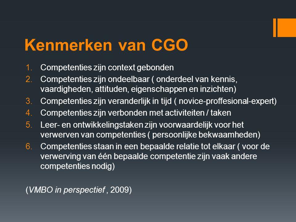 Kenmerken van CGO Competenties zijn context gebonden