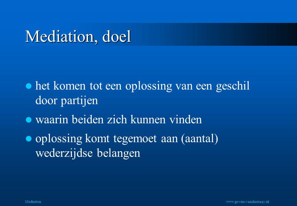 Mediation, doel het komen tot een oplossing van een geschil door partijen. waarin beiden zich kunnen vinden.