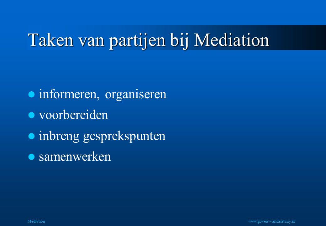 Taken van partijen bij Mediation