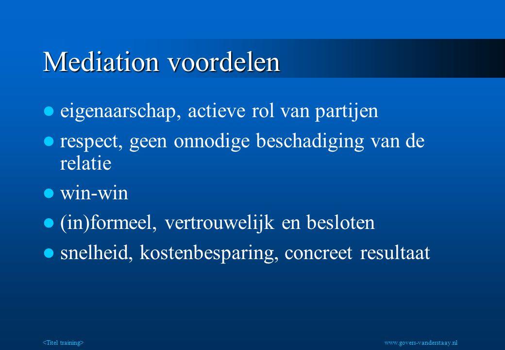 Mediation voordelen eigenaarschap, actieve rol van partijen