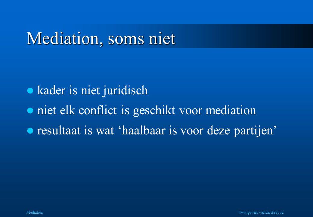 Mediation, soms niet kader is niet juridisch