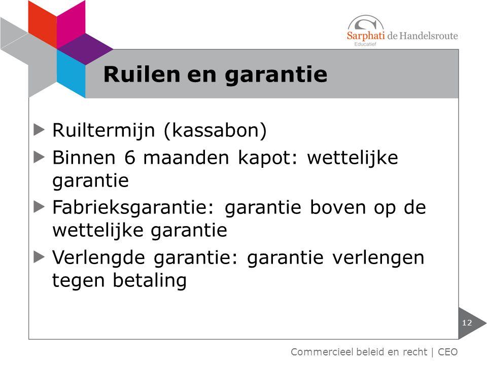 Ruilen en garantie Ruiltermijn (kassabon)