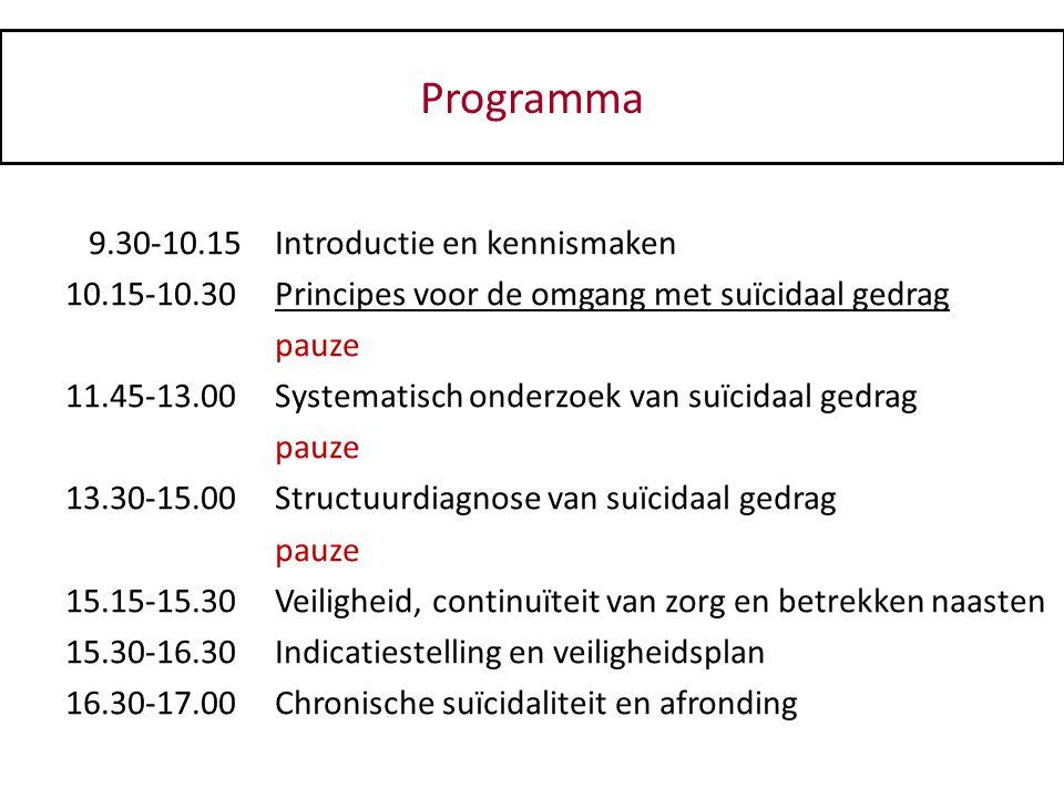 Programma 9.30-10.15 Introductie en kennismaken
