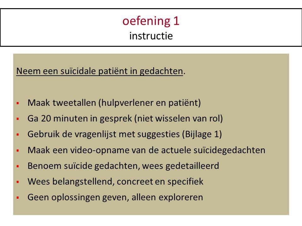 oefening 1 instructie Neem een suïcidale patiënt in gedachten.