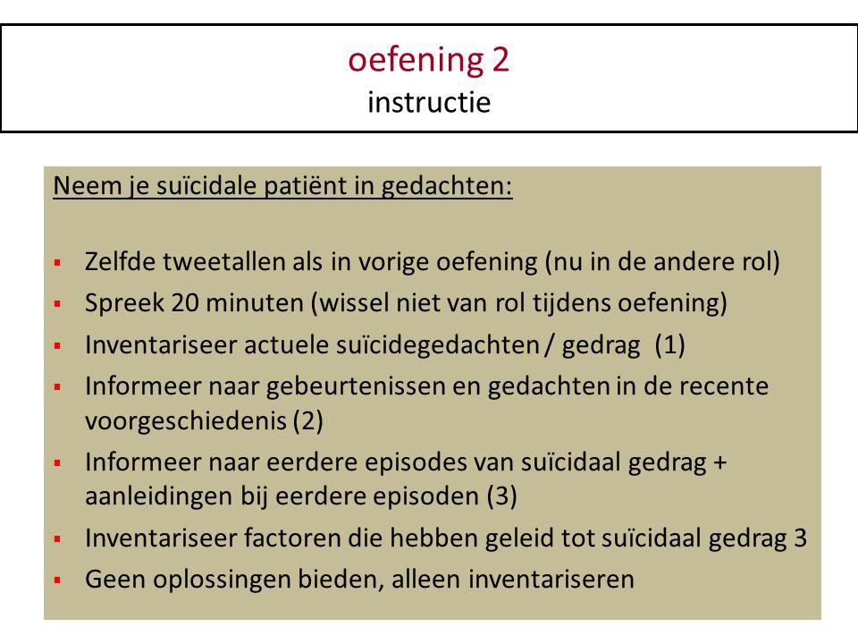 oefening 2 instructie Neem je suïcidale patiënt in gedachten: