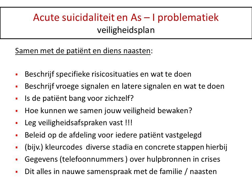 Acute suicidaliteit en As – I problematiek