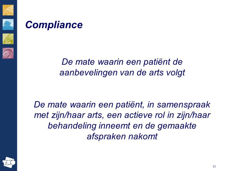 De mate waarin een patiënt de aanbevelingen van de arts volgt