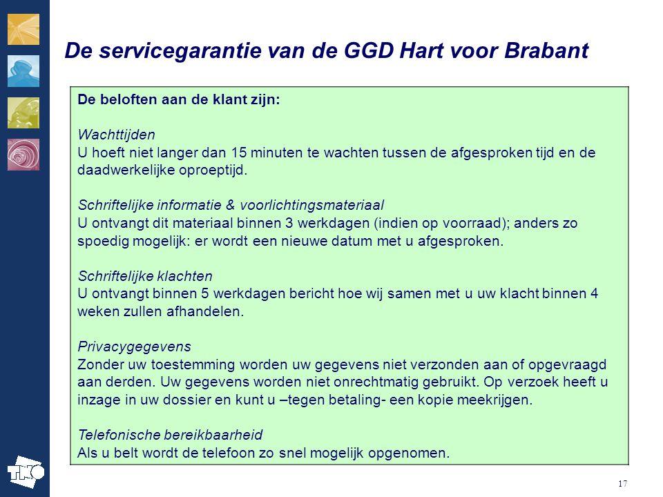 De servicegarantie van de GGD Hart voor Brabant