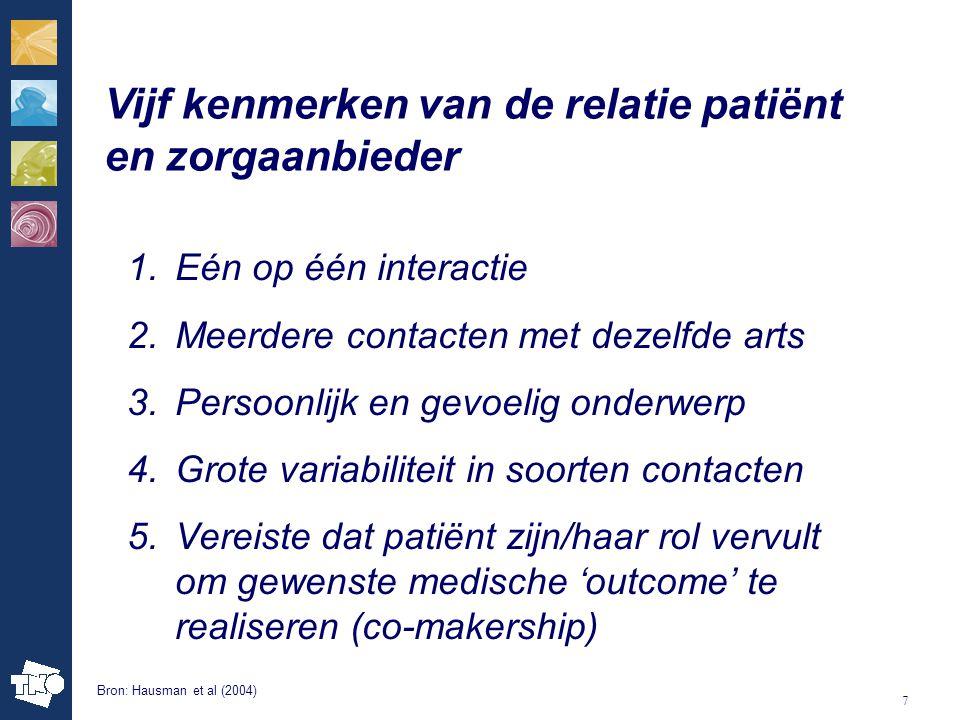 Vijf kenmerken van de relatie patiënt en zorgaanbieder