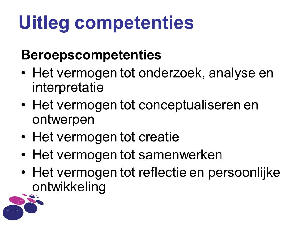 Uitleg competenties Beroepscompetenties