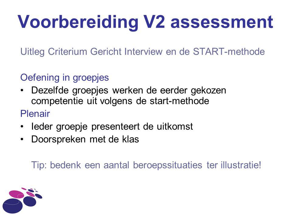 Voorbereiding V2 assessment