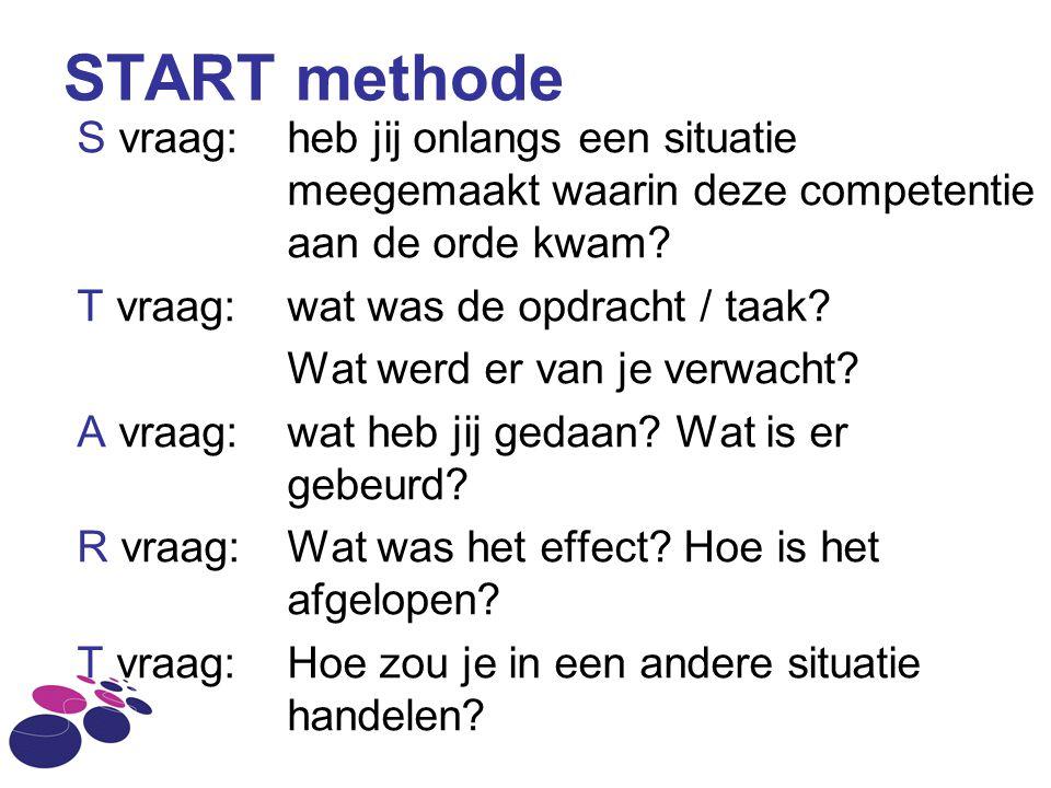 START methode S vraag: heb jij onlangs een situatie meegemaakt waarin deze competentie aan de orde kwam