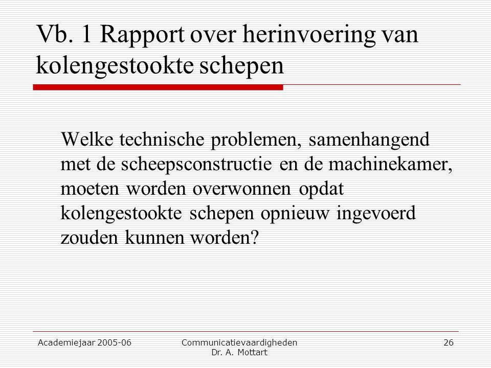 Vb. 1 Rapport over herinvoering van kolengestookte schepen