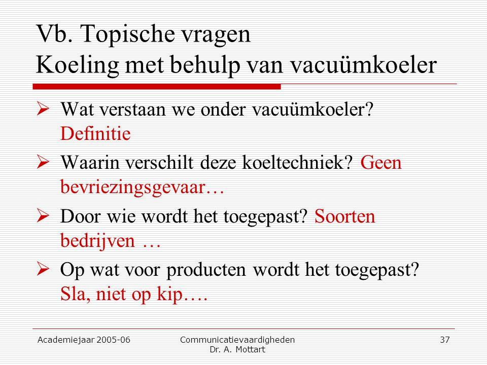 Vb. Topische vragen Koeling met behulp van vacuümkoeler