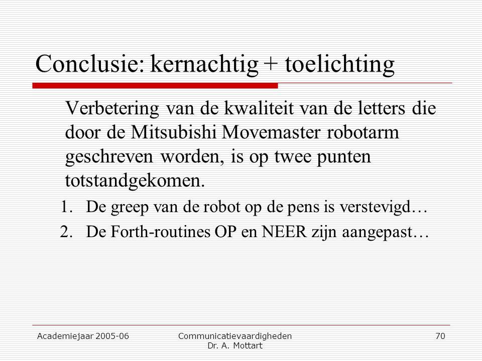 Conclusie: kernachtig + toelichting