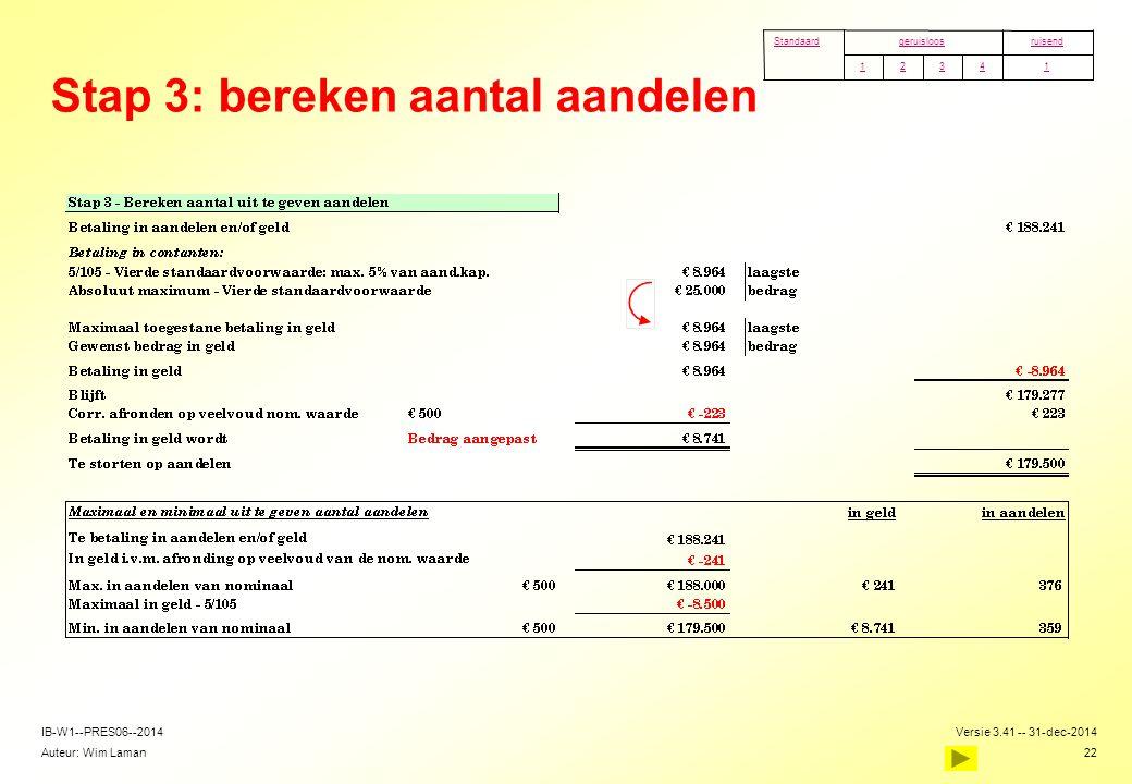Stap 3: bereken aantal aandelen