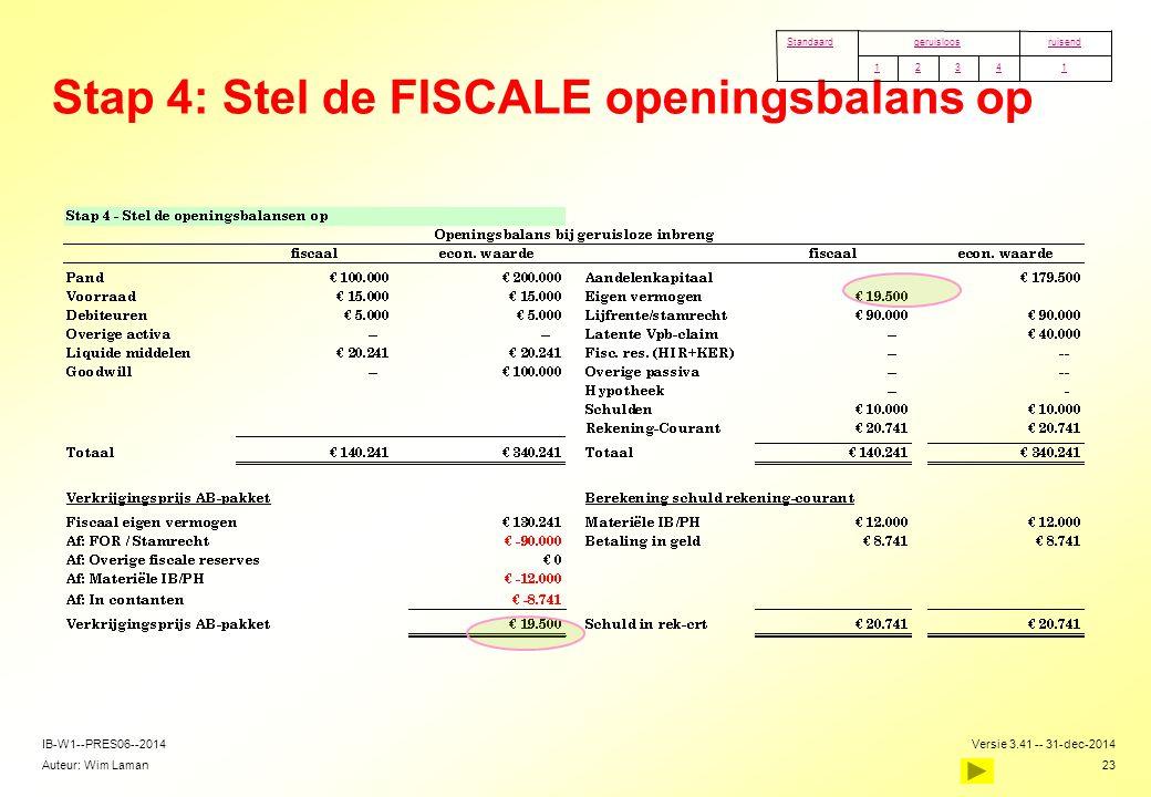 Stap 4: Stel de FISCALE openingsbalans op