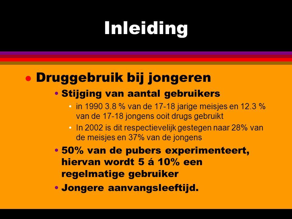 Inleiding Druggebruik bij jongeren Stijging van aantal gebruikers
