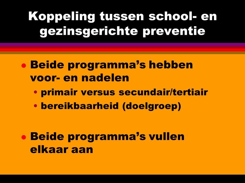 Koppeling tussen school- en gezinsgerichte preventie