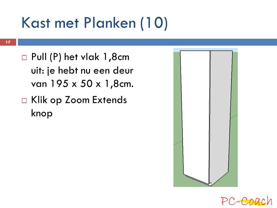 Kast met Planken (10) Pull (P) het vlak 1,8cm uit: je hebt nu een deur van 195 x 50 x 1,8cm.