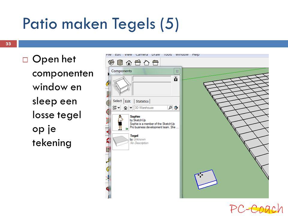 Patio maken Tegels (5) Open het componenten window en sleep een losse tegel op je tekening