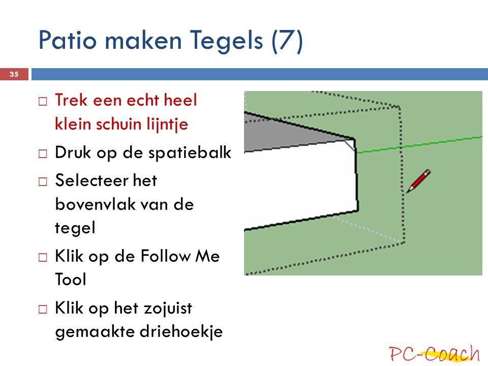 Patio maken Tegels (7) Trek een echt heel klein schuin lijntje