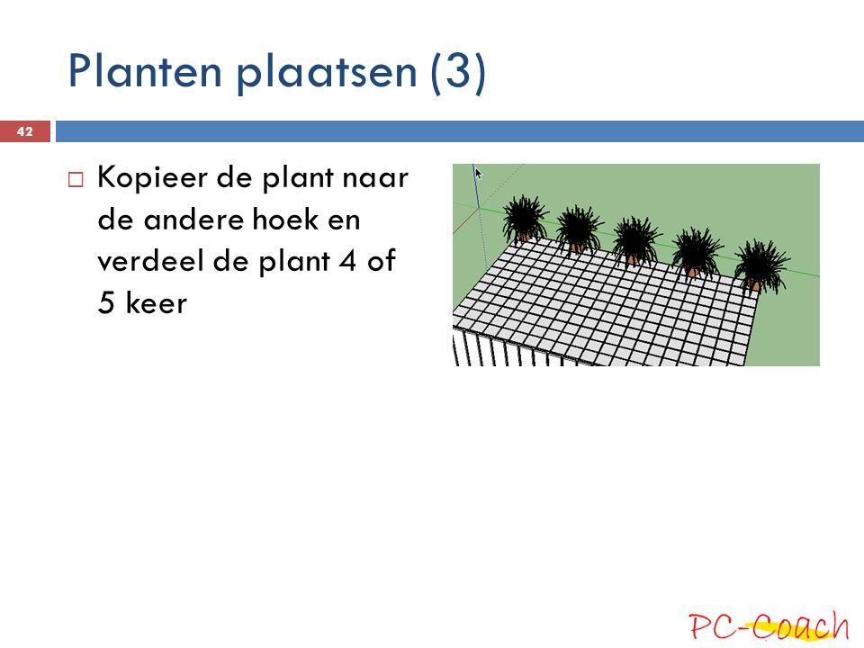 Planten plaatsen (3) Kopieer de plant naar de andere hoek en verdeel de plant 4 of 5 keer