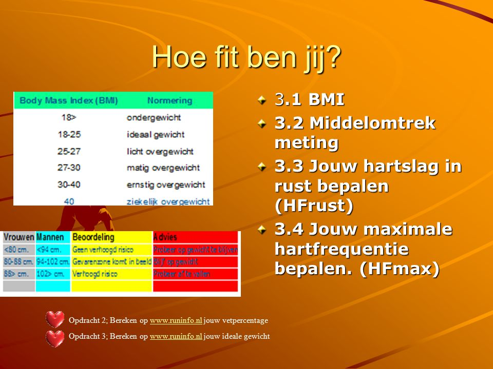 Hoe fit ben jij 3.1 BMI 3.2 Middelomtrek meting