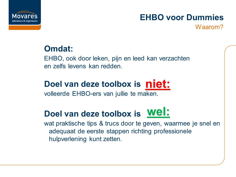 niet: wel: EHBO voor Dummies Omdat: Doel van deze toolbox is