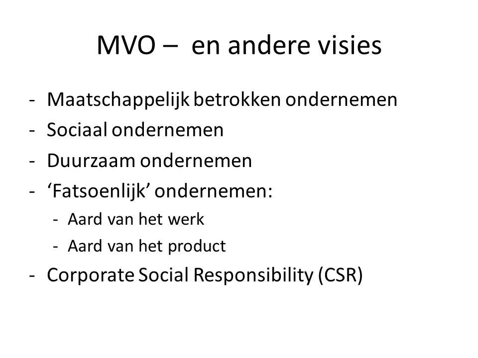 MVO – en andere visies Maatschappelijk betrokken ondernemen