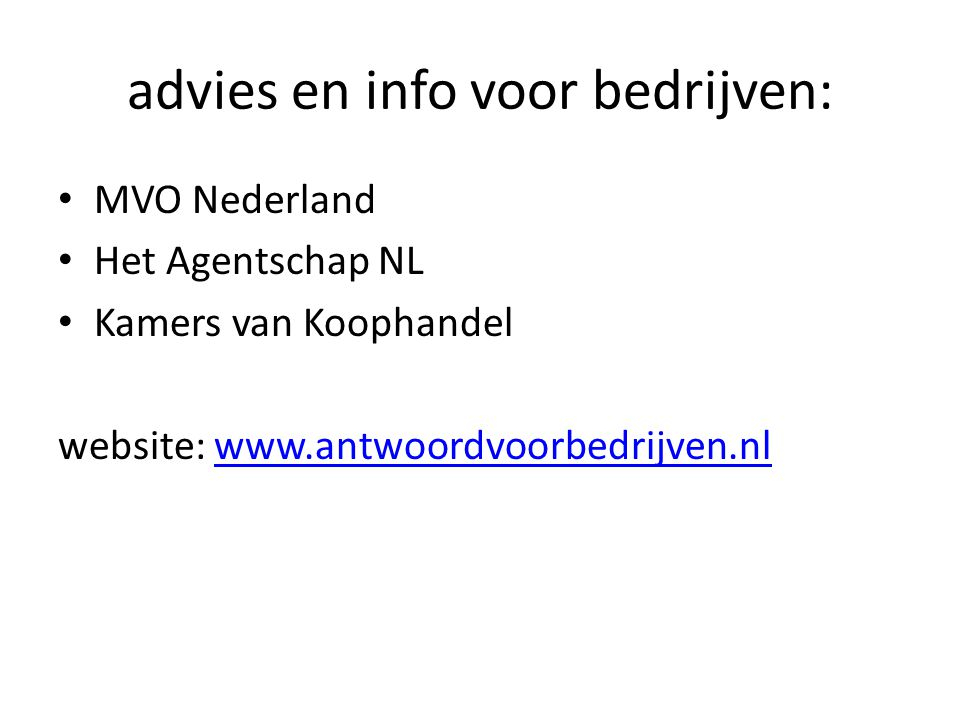 advies en info voor bedrijven: