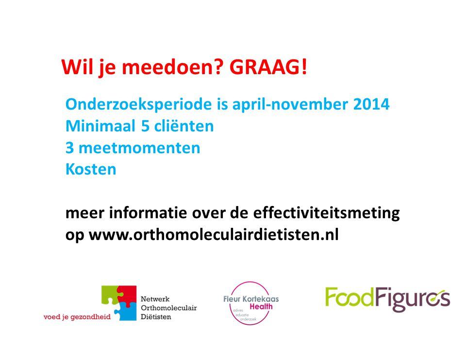 Wil je meedoen GRAAG! Onderzoeksperiode is april-november 2014