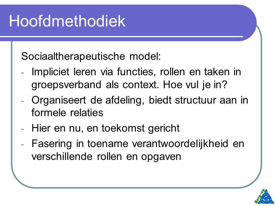 Hoofdmethodiek Sociaaltherapeutische model: