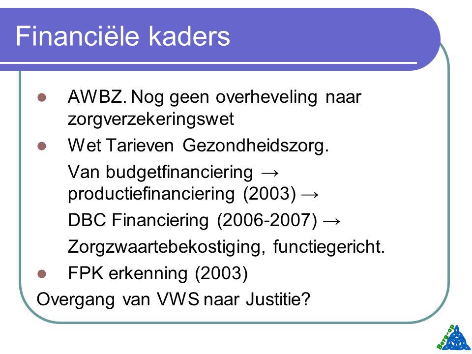 Financiële kaders AWBZ. Nog geen overheveling naar zorgverzekeringswet
