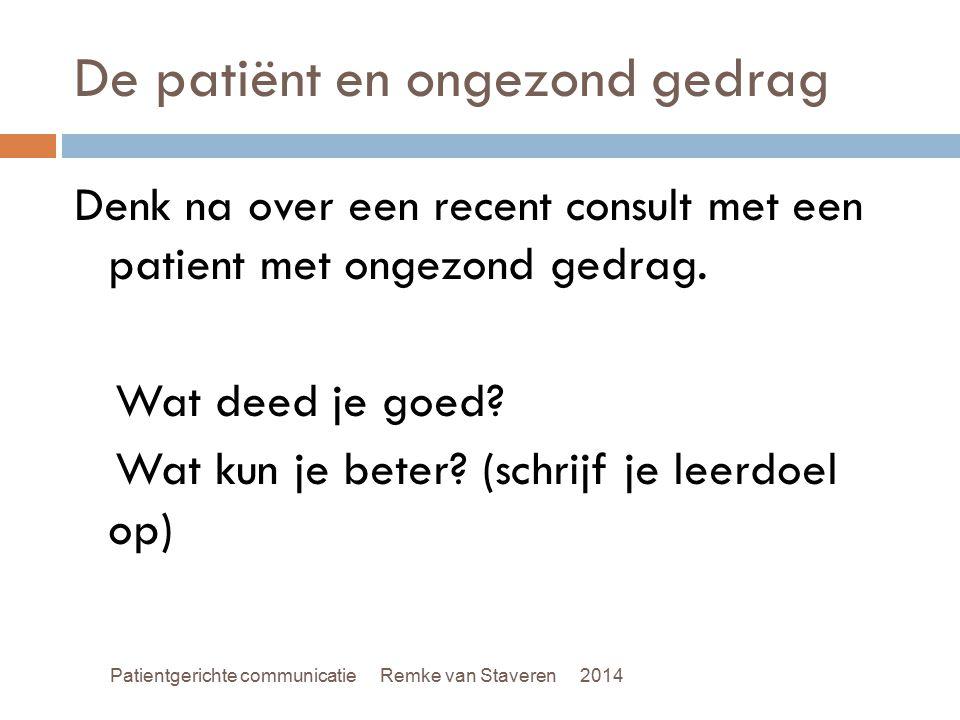 De patiënt en ongezond gedrag