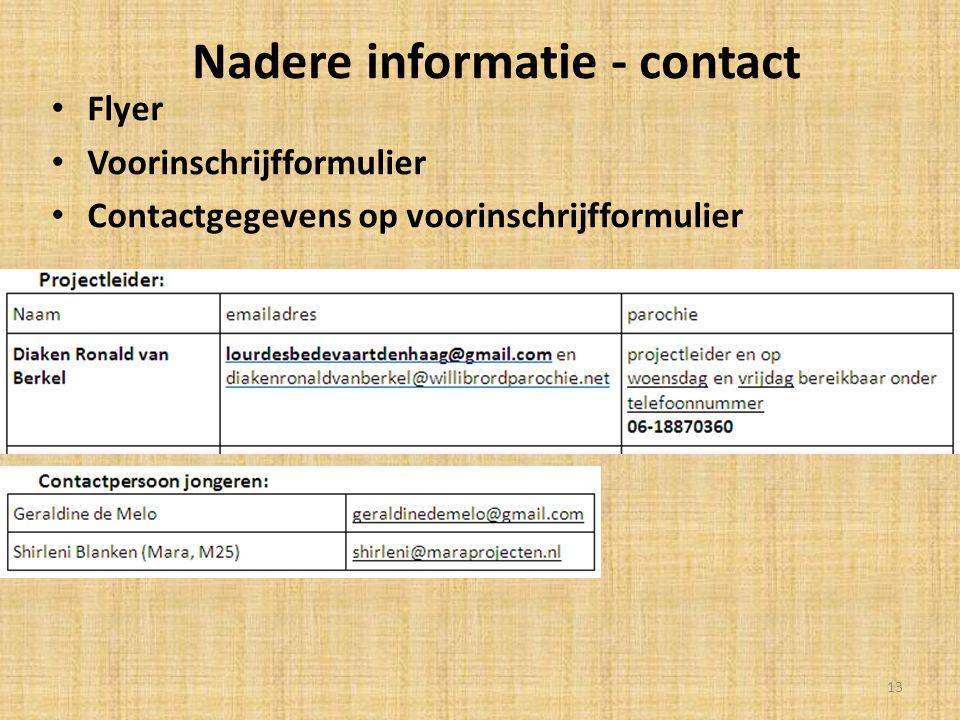 Nadere informatie - contact