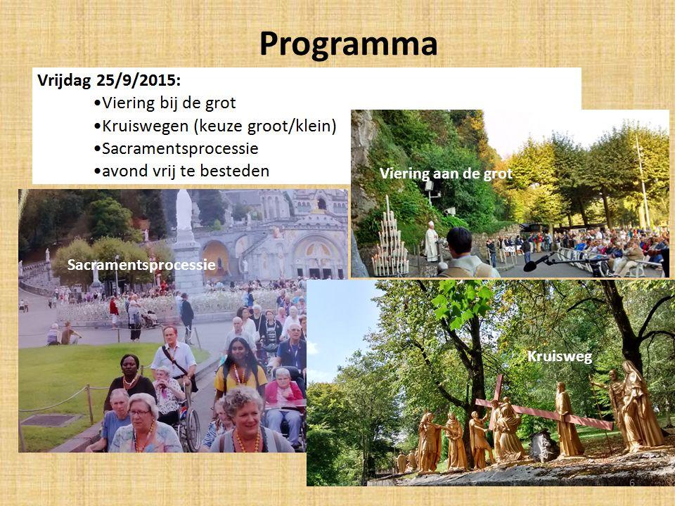 Programma Sacramentsprocessie Viering aan de grot Sacramentsprocessie