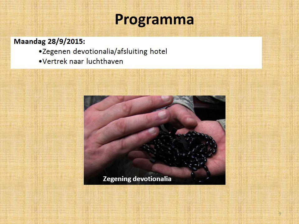 Programma Zegening devotionalia