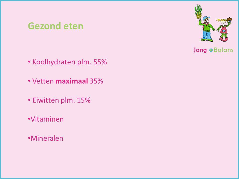 Gezond eten Koolhydraten plm. 55% Vetten maximaal 35%